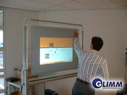 Rear projection touch screens
