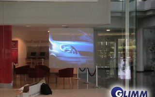 Projection screens for window